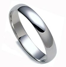 NEW! SOLID 14K WHITE GOLD WOMEN DOMED 4MM WEDDING BAND RING FINGER SIZE 6-6.5