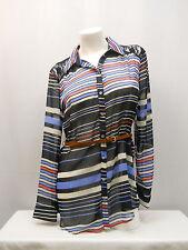 Womens Shirt Belt Button SIZE L Long Sleeves Lace Yoke Sheer Stripe