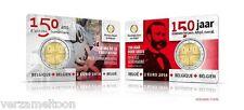 """BELGIE: SPECIALE 2 EURO 2014  """"150 JAAR RODE KRUIS"""" IN COINCARD:  ZELDZAAM!!"""