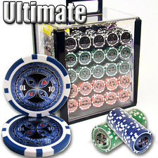 NEW 1000 PC Ultimate 14 Gram Clay Poker Chips Set Acrylic Carrier Case Custom