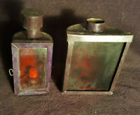 2 Anciennes Lanternes Bougie Métal Verre Fumé poignets arrière