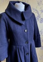Stunning *NICOLE FARHI* Navy Wool Oversize Jacket Coat 10