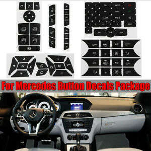 For Mercedes Benz Button Repair Package Steering A/C Window Decals Stickers Set