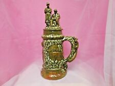 """large 16"""" decorative beer stein with lid, green/brown, hunting scene, squirrel"""