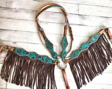 Western Bling! Turquoise Leather Tack Set Horse Bridle + Breast Collar w/ Fringe