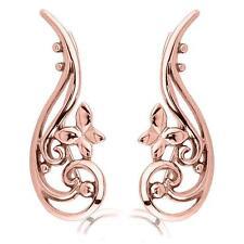 Rose Gold Surgical Steel Ear Vine Pin Crawler Wire Stem Earrings Butterfly 20G