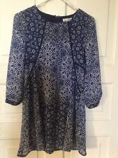 Speechless Womens Junior Blue White Floral Short Mini Lined Tunic Dress Size XS