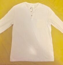 ZARA MAN White Henley Long Sleeve T-Shirt With One Pocket Size SMALL
