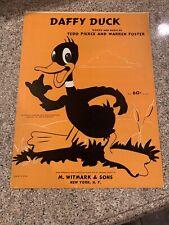 Daffy Duck Sheet Music Vintage Warner Bro's, Tedd Pierce Warren Foster