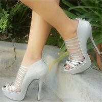 Women Open Toe High Heels Stiletto Sandals Hollow Out Platform Stage Party Shoes