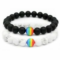 Women Men Rainbow Stone Beaded Bracelet Pride LGBT GAY Friendship Jewelry Gifts