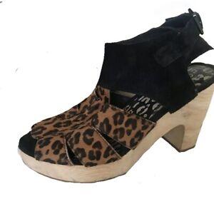 gorman Jaguar Print Leather Wooden Wedge Heels Size 38