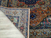 Heriz Serapi Hand Knotted Parsian Fine Neutral Woolen & Bamboo Silk Rugs Carpets