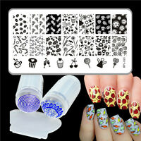 3Pcs Manicure Template Candy Theme Nail Stamping Plate & Clear Stamper Kit DIY