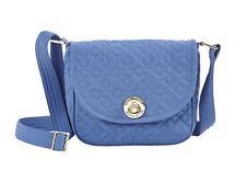 bella taylor Heritage Blue Microfiber Cotton Quilted Mini Saddle Crossbody Bag