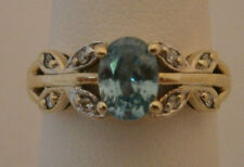 BLUE TOPAZ 10K YELLOW GOLD RING WHITE GOLD ACCENT DIAMONDS SIGNED JCR SIZE 5.5