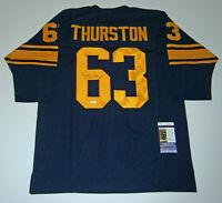PACKERS Fuzzy Thurston signed custom navy jersey w/ #63 JSA COA Autographed