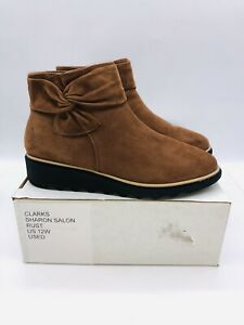 Clarks Collection Women's Sharon Salon Suede Bow Ankle Boots Rust US 12W  *used*