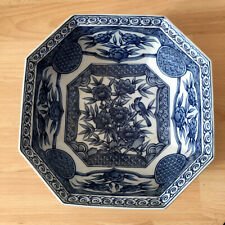 More details for chinese octagonal birds floral blue and white polychrome fruit bowl 8.5 inches