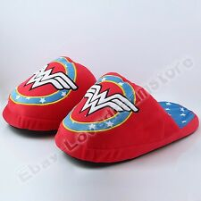 One Pair Super Hero Wonder Woman Logo Cosplay Soft Plush Slipper Slippers