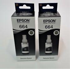 2x Original Epson 664 Nachfülltinte Schwarz f. EcoTank 2500 2550 2600 2650