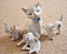 Collectable porcelain Cat family figure-ornament,set of 4 pieces