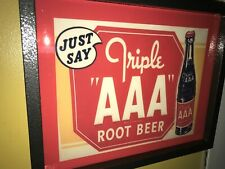 Triple Aaa Root Beer Soda Fountain Diner Bar Man Cave Adverising Lighted Sign