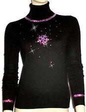 LUXE OH `DOR® 100% Cashmere Pullover Schneeflocke Luxus schwarz pink 46/48 L/XL