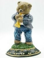 Rare Vintage Cast Iron Teddy Bear Doorstop Bear Playing Clarinet