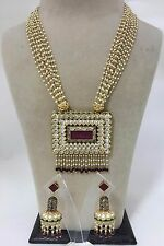 Handcrafted CZ Polki Kundan Multi Strands Pearls Square Ruby Red Necklace Set