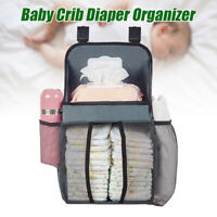 Baby Cot Bed Hanging Nappy Bottle Organizer Storage Bag Cradle Crib Diaper Bag
