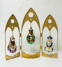Hallmark Blown Glass Christmas Set, Gifts For A King Ornaments, Three Wise Men