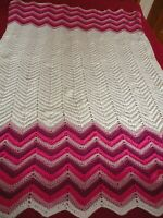 "Afghan Vintage Hand Crochet  BLANKET THROW -Pink-White 45""X 68"""
