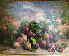 William Hughes (1842-1901) Well Listed Oil on Canvas of Plums and Berries