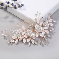 Fashion Rose Gold Hair Combs Crystal Leaf Flower Bridal Wedding Hair Accessories