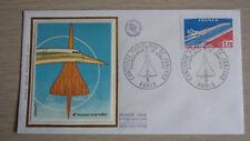 1976 France Enveloppe 1er Jour soie  Concorde Paris Rio de Janeiro 10/06 Paris