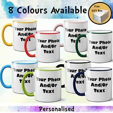 Personalised Coloured Rim Handle Mug Custom Your Photo Text Print Gift Free Box