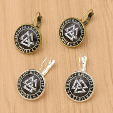 Vintage Valknut Norse Glass Cabochon Earring Ear Clips Women  Jewelry Simple