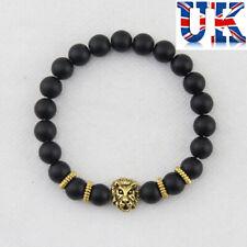 Womens Girls Matt Black Stone Bead Bracelet with Lions Head**UK Seller**