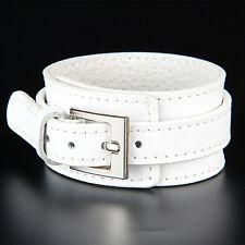 Unisex Trendy Leather Bracelet Adjustable Buckle Wristband Wide Cuff Bangles