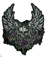 SKULL IN VINES AND ROSES PATCH #9253 EMBROIDERED 5 INCH BIKER WING patches NEW