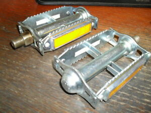 "Old School BMX Victor Rat Trap Pedals SILVER 1/2 "" NOS Cruiser Vintage 1-piece"