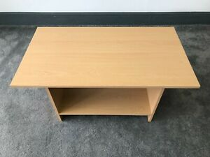 90x50cm Beech Wood Effect Cheap Simple Coffee Table With Shelf: Pine Colour