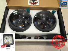 "7"" LED Headlights BLACK x2 DOT E Approved Defender 90 110 FREE Reverse LED 734B"