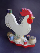 VINTAGE 'WOODEN ROOSTER SEWING/THREAD & ACCESSORIES HOLDER'