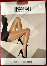 Wolford Neon 40 Shimmer High Gloss Tights pantyhose Large Gobi