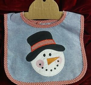 NWT Baby Bib, 100% Cotton Snowman Applique on Blue, Red & White Checked Piping