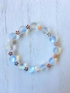 NEW!! Synthetic Opal Beaded Stretch Bracelet With Multi Mix Metal Daisy's