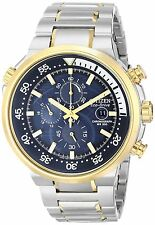 Citizen Eco-Drive Endeavor Blue Dial Two-Tone Chronograph Mens Watch CA0444-50L