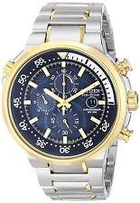 Citizen Eco-Drive Endeavor Blue Dial Two-Tone Chronograph Mens Watch CA0444-50L